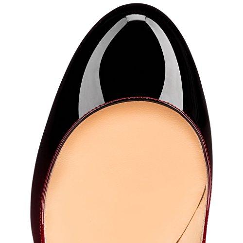 Col 10cm Round Donna Classiche Scarpe nero Rosso Heels Elashe Da Toe Tacco CnRwgtqS