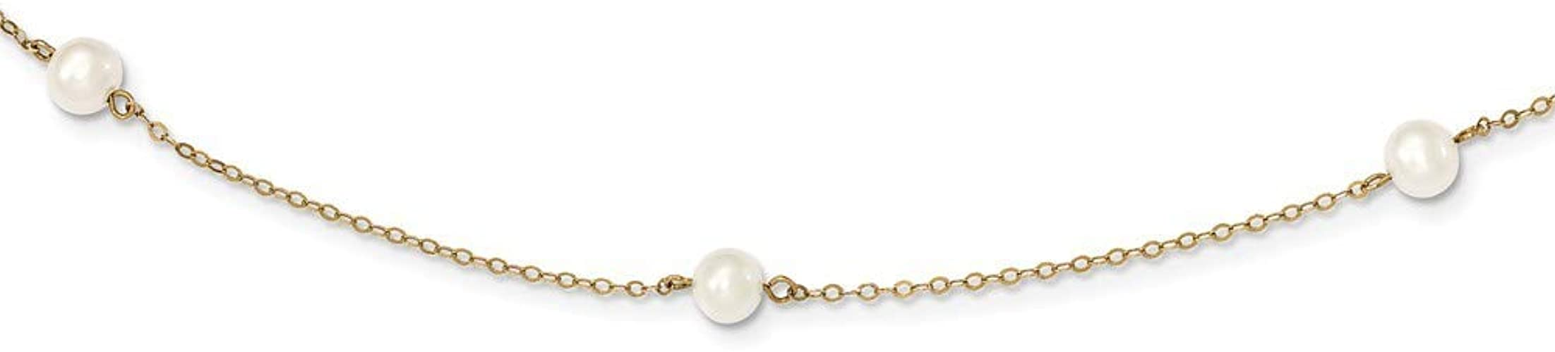 14K Yellow Gold 18in Curved Bead and 7-8mm White Freshwater Cultured Pearl Necklace