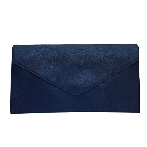 Faux Wedding Bag Navy Leather Ladies Envelope Style Clutch Evening New Purse Women z06wS5xqq