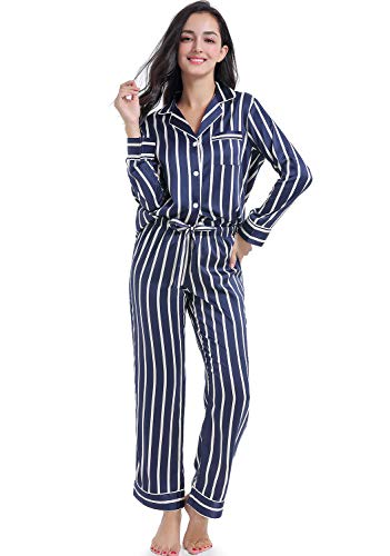 Serenedelicacy Women's Silky Satin Pajamas Striped Long Sleeve PJ Set Sleepwear Loungewear (X-Small / 0-2, Stripe Navy Cream) (Women Navy Striped Pj)