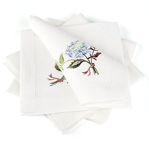 Linen Cloth Table Napkins Hydrangea with Embroidery — Soft and Durable — Set of 4, 16