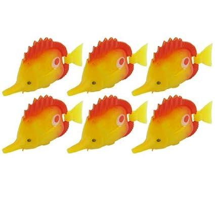 eDealMax DE 6 piezas de plástico acuario Peces oscilación Flexible cola, Rojo Amarillo