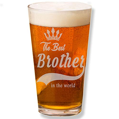 Shop4Ever The Best Brother In The World Laser Engraved Beer Pint Glass ~ Birthday Christmas Gift for Brother In Law Son ~ (BP, 16 oz.)