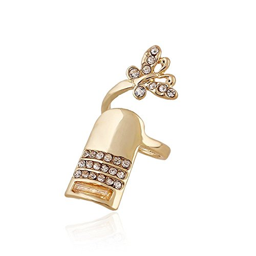 Winter's Secret Diamond Accented Gold Color Women and Girls Fashion Butterfly Fingernail (California Bookcase Cabinet)
