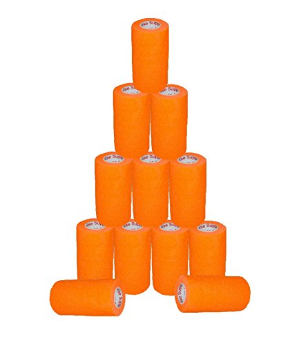 "3"" Medical Wrap Tape Bulk, Self Adherent Rap Tape, Self Adhering Stick Bandage, Self Grip Roll, Power Flex Wrap – 3"" x 15' Feet 12 Rolls Orange (Self Elastic Adhering)"
