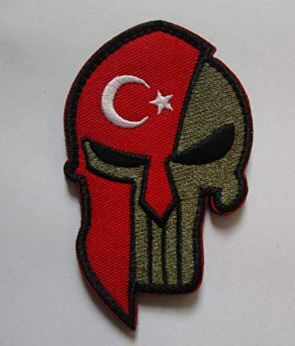 Turkey Flag & Punisher & Spartan Molon Labe Halloween Military Patch Fabric Embroidered Badges Patch Tactical Stickers for Clothes with Hook & Loop -