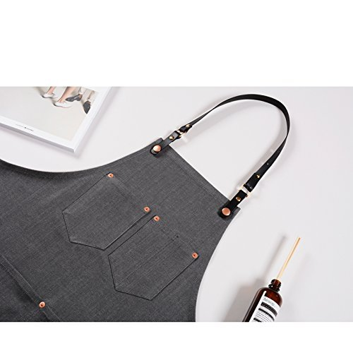 Luchuan Cotton Grey Denim Restaurant Work Aprons with the Adjustable Genuine Leather Belt style 1 : 30x23.6