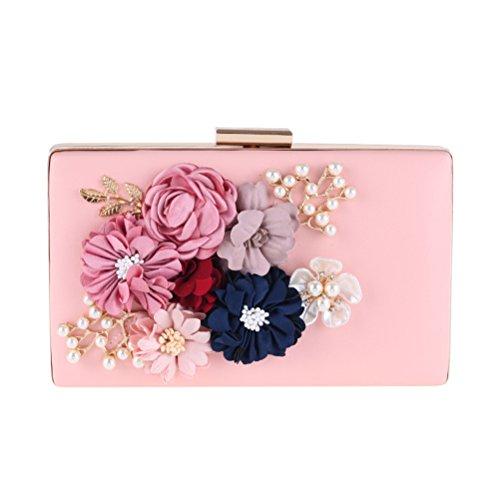 del de las la boda de de y bolso de flores boda Bolso mujeres boda las las la BESTOYARD perlas del bolso de rosa de la diseño OHfwWaq