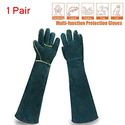 (Sporting Style Animal Handling Gloves- Scratch/Bite Resistant Protective Gloves, Breathable Canvas Lining for Dog Cat Bird Snake Parrot Lizard Wild Animals Protection Gloves)