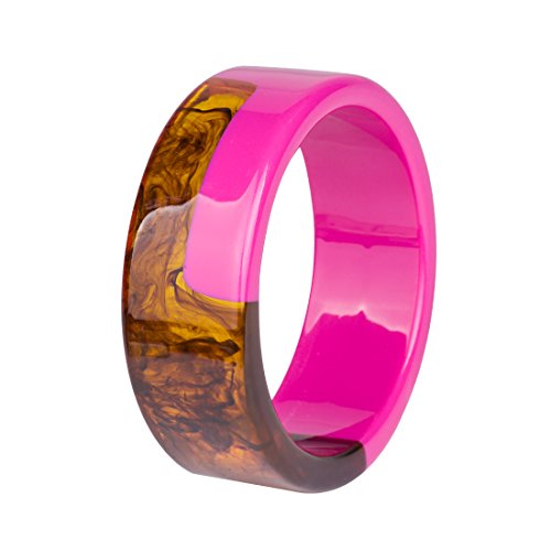 GuanLong Lucite Resin Craft Two-tone Bangle Bracelet, Summer Fashion Jewelry Bracelet (Rose) by GuanLong