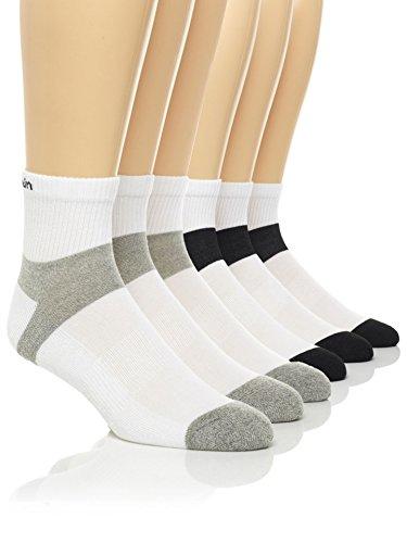 Calvin Klein Men's Basic Sport Quarter Socks - 6 Pack, White/Black, (Calvin Sport Socks)