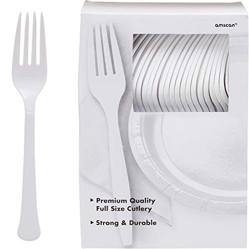 Amscan 43600.08 Big Party Pack Premium Plastic Forks, 7.3