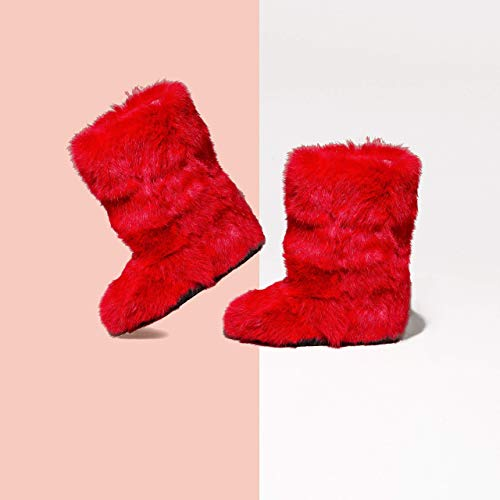 Winter Boots for Women, Mukluk Boots, Yeti Boots, Raspberry-Red Rabbit Fur Boots, Long Boots, Color Boots, Girlfriend Gift, LITVIN (Rabbit Fur Mukluk)