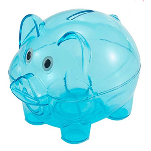 Cartoon Plastic Piggy Bank Coin Money Cash Saving Box For Kid (Blue)
