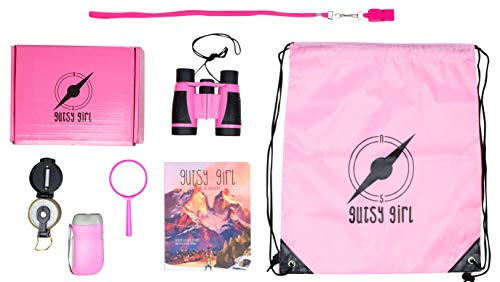 Gutsy Girl Explorer Outdoor Adventure Kit – 7 in 1 Set: Binoculars, Flashlight, Compass, Magnifying Glass, Whistle, Backpack, Board Book – Strong, Brave, Gutsy