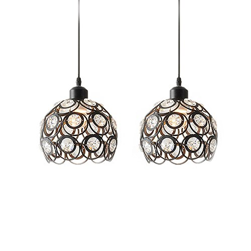YANCEN Antique Black Metal Crystal Chandelier Lighting Hollow Pendant Light Ceiling Lamp Fixture E26 Bulb Painted Finish for Dining Room Bar Island by YANCEN (Image #3)