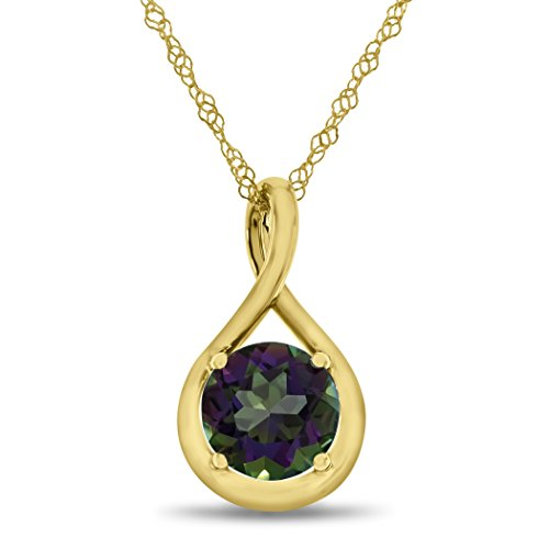 Gold Mystic Fire Topaz Pendant - Finejewelers 7mm Round Mystic Topaz Twist Pendant Necklace Chain Included 10 kt Yellow Gold