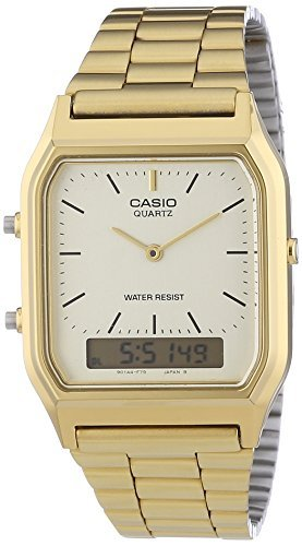 New Casio AQ230GA-9D Digital Analog Dual Time Metal Watch Multi Alarm Auto Calendar Water Resistant (Casio Gold Watch For Men)