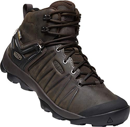 KEEN - Men's Venture Mid Leather Waterproof Hiking Boot, Mulch/Black, 8 US (Best Mulch For Walking On)