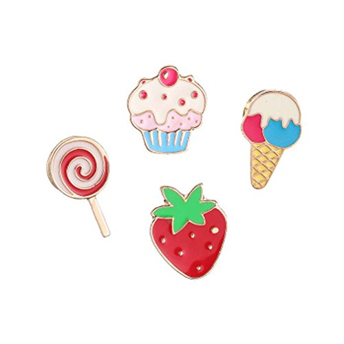 Price comparison product image MJartoria 4 Pcs Strawberry Ice Cream Cake Patch Cartoon Brooch Pin Badges Set for Clothes Bags Backpacks 1.2cm