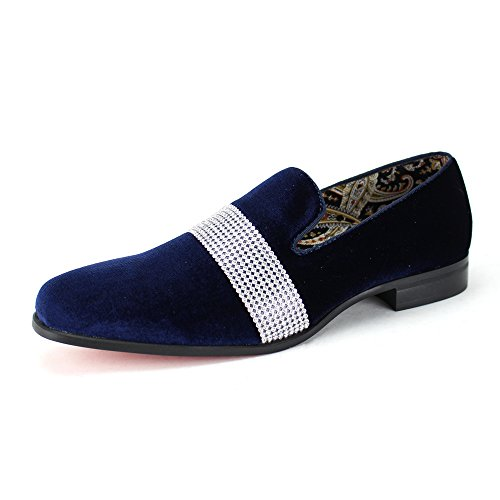 Midnight Blue Shoes (AFTER MIDNIGHT Men's Velvet Smoking Slipper With Band Of Stones! Bejeweled Smoker Shoe! (8, Navy))