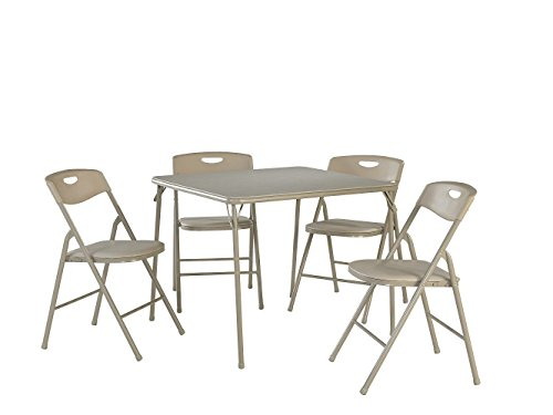 Cosco 37557ANTE 5-Piece Folding Table and Chair Set, Antique Linen (Renewed)