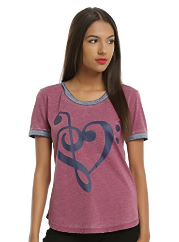 Navy Heart Clef Maroon Girls Burnout Ringer T-Shirt