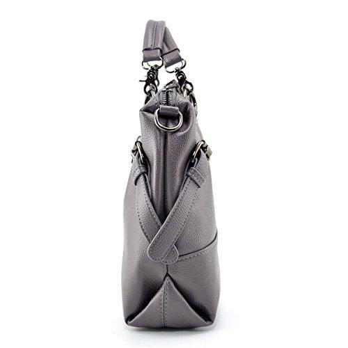 Grey Women amp;Sue Cross Satchel Body Leather Purse Shoulder Handbag Stylish Soft Slouchy Bag Mn wpAxqEORSS