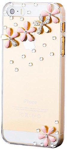 iCues Apple iPhone 5/5S/SE Strass Design Cover - Rosa Blumenreihe - Hochwertiges Glitzer Design - Flexibles TPU + Displayschutzfolie