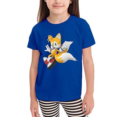 ClassicLoveU Boys Kids T-Shirt 5/6T Girls Blue Shirt with Sonic Hedgehog 3D Tails Pattern