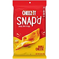 Cheez-It Snap'd, Cheesy Baked Snacks, Double Cheese, 3.6oz Pouch(Pack of 6)