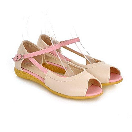 AllhqFashion Womens Buckle Open Toe Low-Heels PU Assorted Color Sandals Beige cpv2kFtka