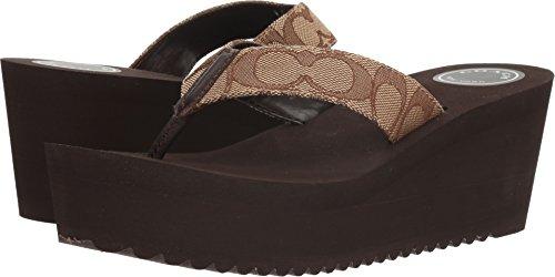 COACH Women's Jen Outline Khaki/Chestnut Sig C Cvc Sandal Size (Coach Shoes Wedges)