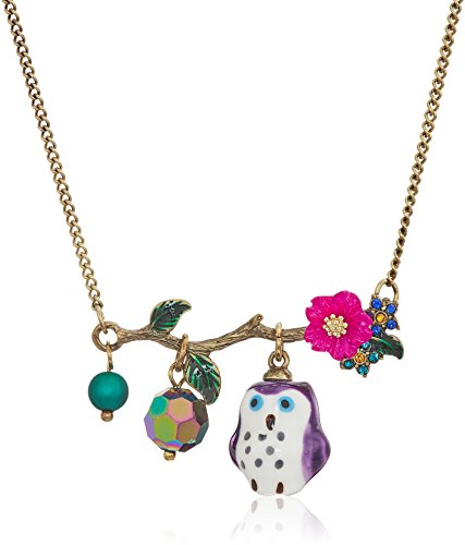 Betsey Johnson Surreal Forest Purple Owl Pendant Necklace