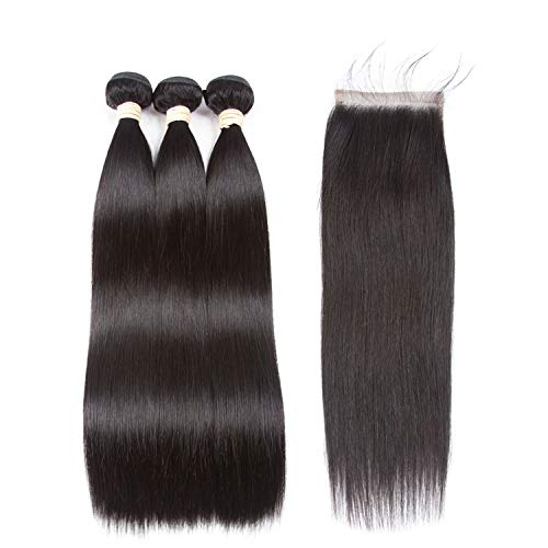 Hair Extension 100% Human Hair Bundles With Closure Brazilian Hair Weave Bundles,18 20 22+14Closure,Middle]()