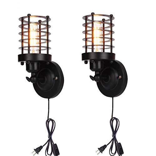 - Retro Cage Wall Sconce Lamp Plug in Cord with Switch Dimmable Metal Industrial Wall Light Shade Vintage Style Edison Mini Antique Fixture for Headboard Bedroom Garage Porch Mirror 2 Pack (No Bulb)