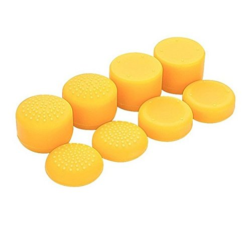 Pack of 8 pcs Analog Controller Gamepad Raised Antislip Thumb Stick Grips Thumbsticks Joystick Cap Cover for PS4, PS3, Switch Pro, Xbox one, Xbox 360, Wii U, PS2 Controller (Yellow)