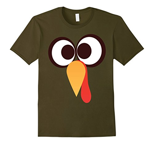 [Mens GIANT TURKEY FACE T-Shirt Funny THANKSGIVING Holiday Costume Medium Olive] (Giant Olive Costume)