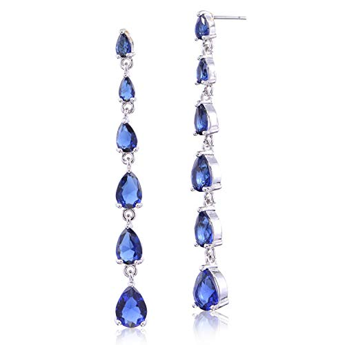 Blue CZ Linear Drop Earrings - Sterling Silver Multi Teardrop Sapphire Cubic Zirconia Long Post Earrings Crystal Bridal Wedding Prom Party Dangle Earrings for Bride Bridesmaids Birthstone Earrrings
