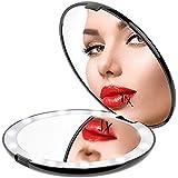 Gospire 化粧鏡 7倍拡大鏡 携帯ミラー 化粧ミラー LEDライト 手鏡 折りたたみ式 コンパクト 角度調整可