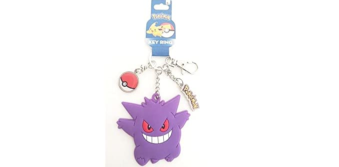 Pokemon Gengar Rubber Pokeball Metal Charm Keychain