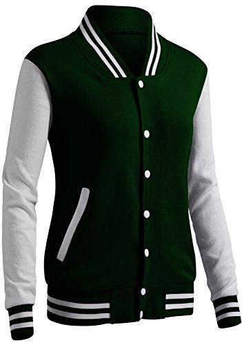Varsity Uniform - CLOVERY Women's Varsity Uniform Long Sleeve Jacket GREEN S