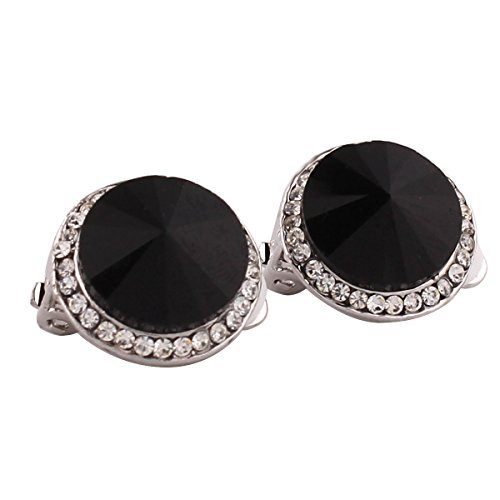 Grace Jun(TM) Round Shape Austria Crystal Clip on Earrings for Girl's Party Rhinestone Earrings - Clip Rhinestone Earrings