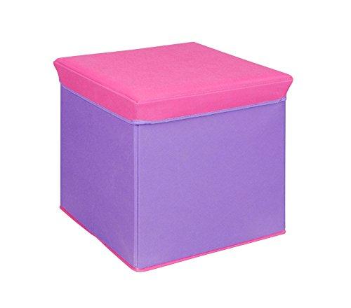Bintopia Storage Ottoman, Purple/Pink Trim