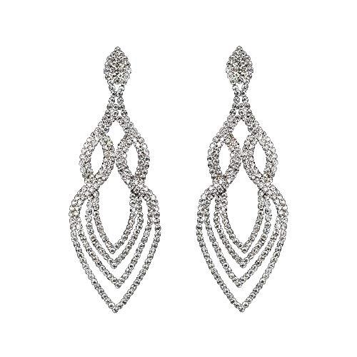 Extra Long Fashion Statement Silver Gold Black Rhinestone Crystal Drop Earrings or Bracelet Bridal Wedding Jewelry (Extra Long ()