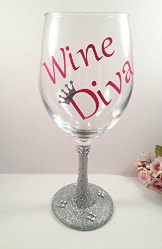 Diva Glitter Decorative Wine Glasses, 20oz