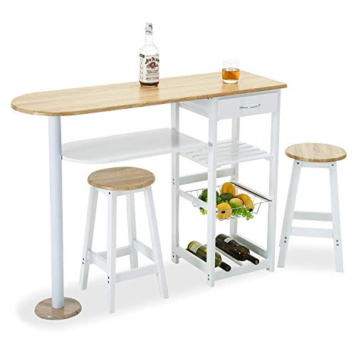 Mecor Kitchen Island Trolley Cart,3 Piece Dining Table Set with Wood Table Top,3-Tier Storage Shelves & 1 Drawer,White ()