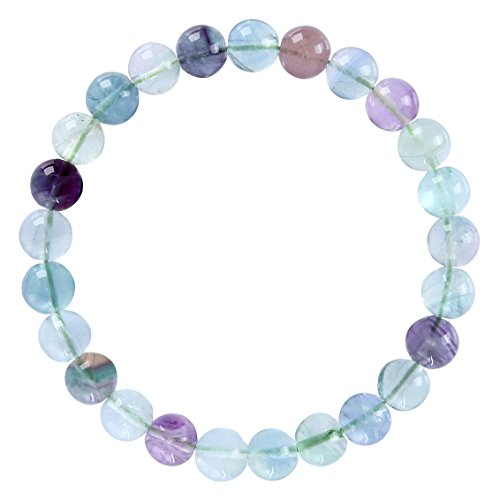 - BRCbeads Gemstone Bracelets Natural Flourite Genuine Gemstones Birthstone Handmade Healing Power Crystal Beads Elastic Stretch 8mm 7.5 Inch with Gift Box Unisex