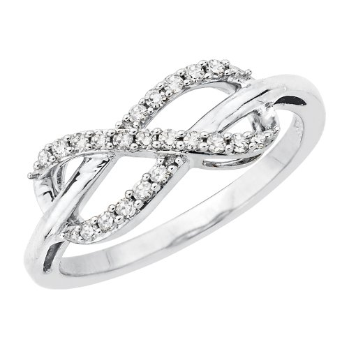 KATARINA Infinity Diamond Ring in Sterling Silver (1/5 cttw) (Size-5.5) (Color-JK, Clarity-I1/I2)