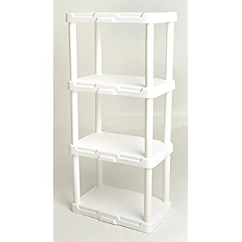 plano 4 tier heavy duty plastic shelving white 2 pack kitchen dining. Black Bedroom Furniture Sets. Home Design Ideas